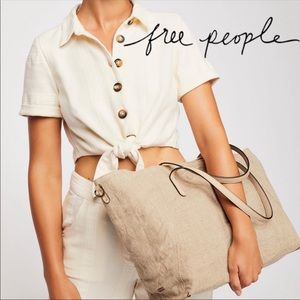 Free People Reversible Linen Tote